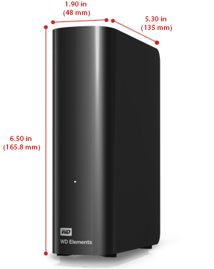 WD Elements Desktop Size